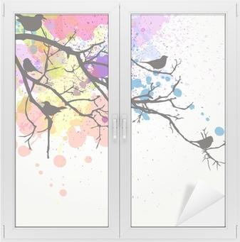 Vektor gren med fugle på en abstrakt baggrund Vindue og glas klistermærke
