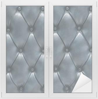 Vindu- og glassklistremerke Superficie tapizada de cuero acolchado azul