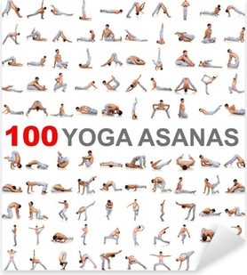 Vinilo Pixerstick 100 posturas de yoga en el fondo blanco