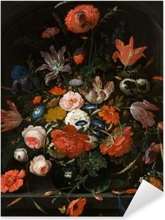 Vinilo Pixerstick Abraham Mignon - Flowers in a Glass Vase