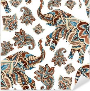 Vinilo Pixerstick Acuarela del elefante étnico con los elementos de Paisley fondo.