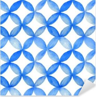 Vinilo Pixerstick Acuarela modelo japonés azul.
