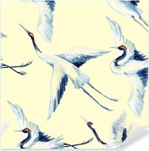 Vinilo Pixerstick Acuarela patrón transparente asiático pájaro de la grúa