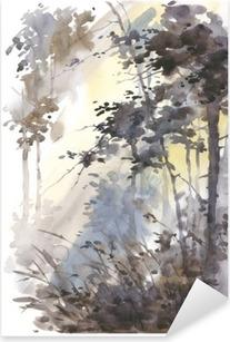 Vinilo Pixerstick Acuarela pintada a mano del paisaje del extracto, bosque profundo, de tres en tres en el sol.