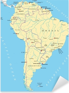 Vinilo Pixerstick América del Sur Mapa (Südamerika Crónica)