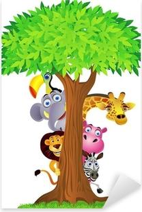 Vinilo Pixerstick Animal esconderse detrás del árbol