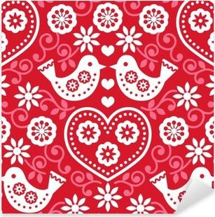 Vinilo Pixerstick Arte popular sin fisuras patrón de color rojo con flores y pájaros