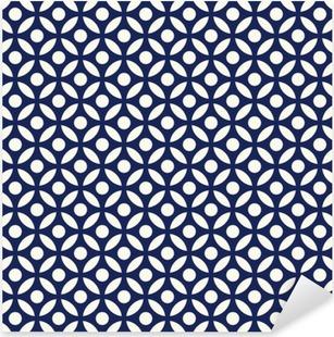 Vinilo Pixerstick Azul y blanco transparente índigo porcelana árabe vector modelo redondo