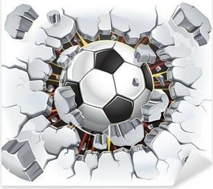 Vinilo Pixerstick Balón de fútbol y Old daño de la pared de yeso. Ilustración vectorial