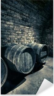 Vinilo Pixerstick Barriles viejos, imagen HDR de una bóveda en