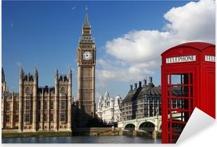 Vinilo Pixerstick Big Ben con la cabina de teléfonos roja en Londres, Inglaterra