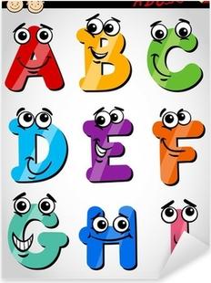 Vinilo Pixerstick Cartas divertido alfabeto de dibujos animados