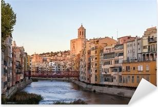 Vinilo Pixerstick Catedral de Girona con puente de Eiffel sobre el río Onyar - España