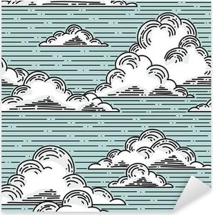 Vinilo Pixerstick Clouds seamless pattern hand-drawn illustration. Vector background