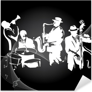 Vinilo Pixerstick Concierto de jazz de fondo negro