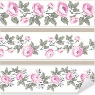 Vinilo Pixerstick Conjunto de las fronteras de flores sin fisuras con las rosas