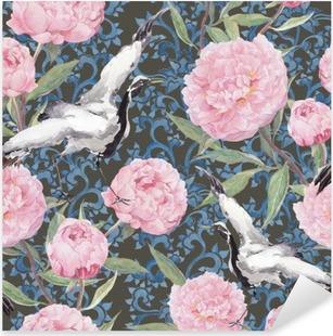 Vinilo Pixerstick Crane los pájaros, flores de peonía. Floral que repite el modelo chino. Acuarela