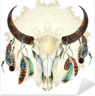 Vinilo Pixerstick Cráneo de la vaca de la acuarela con las plumas
