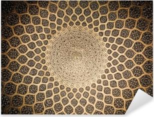 Vinilo Pixerstick Cúpula de la mezquita, ornamentos orientales de Isfahan, Irán