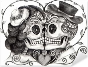 Póster Día Del Cráneo Del Arte De La Deadart Boda Del Cráneo Del