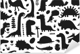 Vinilo Pixerstick Dinosaurios divertidos patrón sin costuras para su diseño