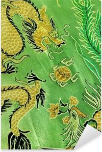 Vinilo Pixerstick Dragón y Phoenix, seda china del bordado