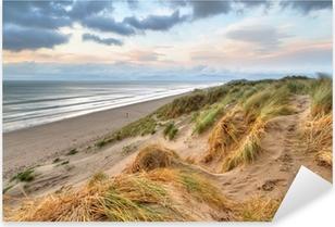 Vinilo Pixerstick Dunas de la playa Rossbeigh al atardecer, Irlanda