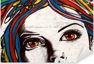 Vinilo Pixerstick El graffiti de estilo moderno en la pared de ladrillo.