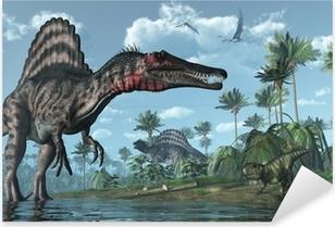Vinilo Pixerstick Escena prehistórica con los dinosaurios Spinosaurus y Psittacosaurus