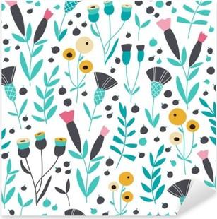 Vinilo Pixerstick Estampado de flores escandinavo brillante inconsútil