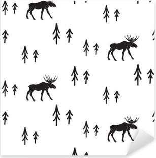 Vinilo Pixerstick Estilo simple blanco y negro sin fisuras patrón ciervos escandinavo. Ciervos y pinos modelo monocromático silueta.