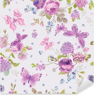 Vinilo Pixerstick Flores de la primavera de fondo con Butterflies- Seamless floral lamentable