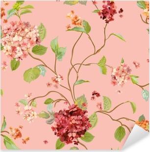 Vinilo Pixerstick Flores Vintage - floral Fondo Hortensia - sin patrón