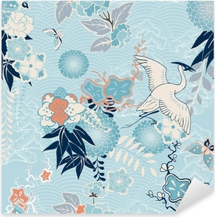 Vinilo Pixerstick Fondo del kimono con la grúa y flores