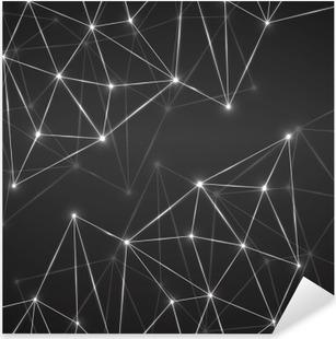 Vinilo Pixerstick Fondo geométrico abstracto con los puntos y líneas de conexión. concepto de la tecnología moderna. estructura poligonal