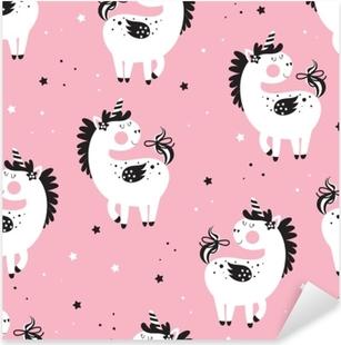 Vinilo Pixerstick Fondo transparente de niños con unicornios