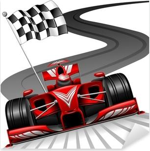 Vinilo Pixerstick Fórmula 1 Red Car en pista de carreras