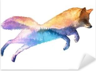 Vinilo Pixerstick Fox ilustración doble exposición