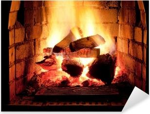 Vinilo Pixerstick Fuego en chimenea