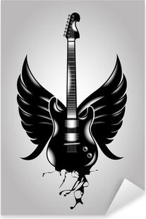 Vinilo Pixerstick Guitarra vieja escuela