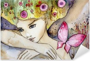 Vinilo Pixerstick Hermosa chica con mariposa