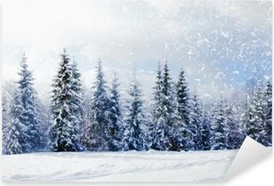 Vinilo Pixerstick Hermoso paisaje de invierno con árboles cubiertos de nieve
