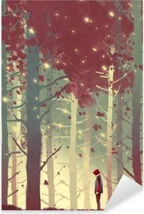 Vinilo Pixerstick Hombre de pie en el bello bosque con las hojas que caen, pintura ilustración