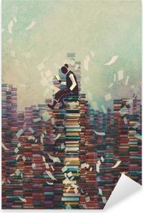 Vinilo Pixerstick Hombre leyendo el libro mientras está sentado en la pila de libros, el concepto de conocimiento, pintura ilustración