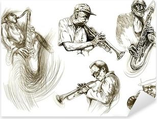 Vinilo Pixerstick Hombres jazz (recolección manual de dibujo de bocetos)