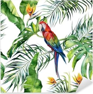Vinilo Pixerstick Ilustración acuarela transparente de hojas tropicales, selva densa. loro guacamayo escarlata. flor de strelitzia reginae. pintado a mano. patrón con motivo trópico de verano. hojas de palma de coco