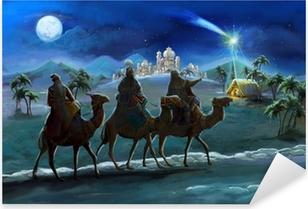 Vinilo Pixerstick Ilustración de la Sagrada Familia y tres reyes