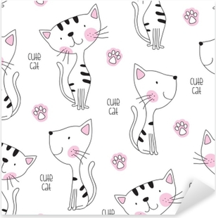 Vinilo Pixerstick Ilustración de vector de patrón de gato lindo inconsútil