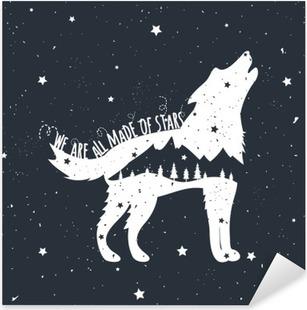 Vinilo Pixerstick Ilustración del vector con el lobo del grito, montañas y árboles