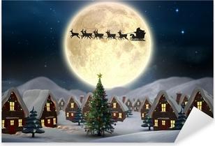 Vinilo Pixerstick Imagen compuesta del pueblo lindo navidad